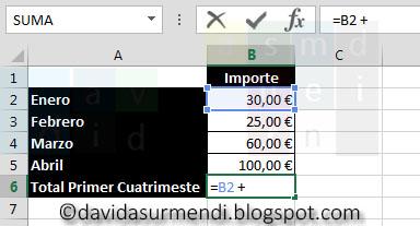 Añadimos en la Fórmula el Operador de la Suma.