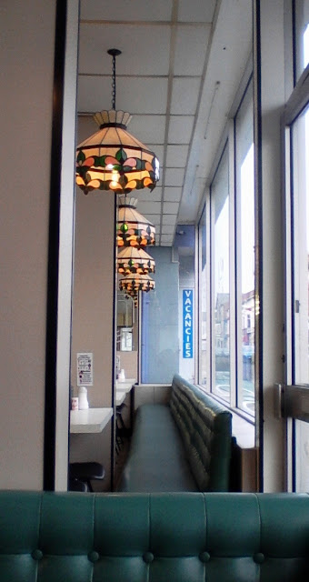 Blackpool fish and chip shop - vintage lights and chairs