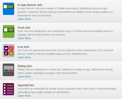 In - App Banner, Push, Icon, Dialog, Appwall Ads
