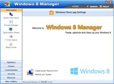 Free Download Windows 8 Manager 1.0.8 with Keygen Full Version
