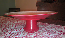 Deep Red Shorty Platter with Rosettes around base (SOLD)
