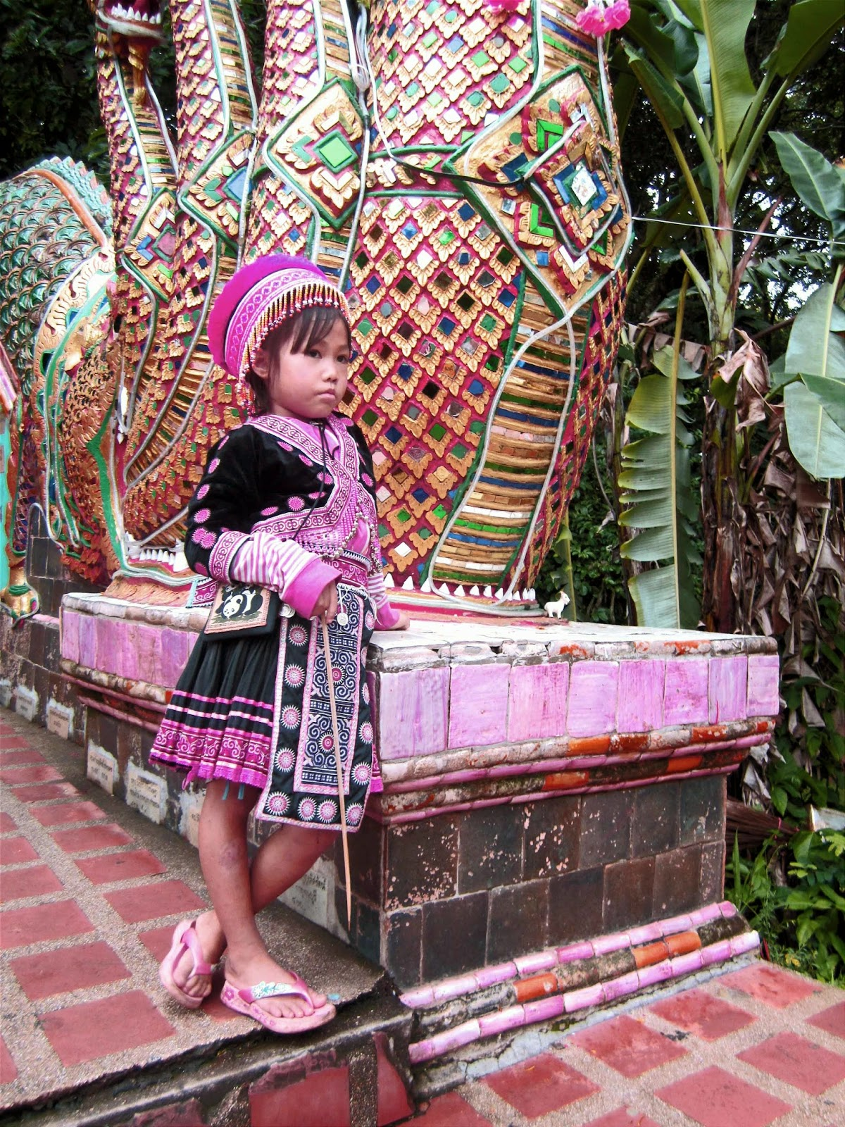 small thai girl in traditional outfit chiang mai