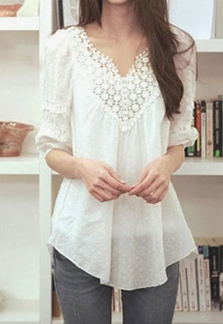 White Lace Long Shirt