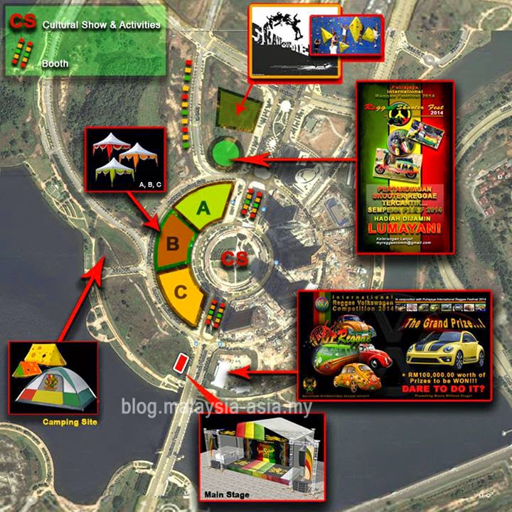 Map of Putrajaya International Reggae Festival 2014