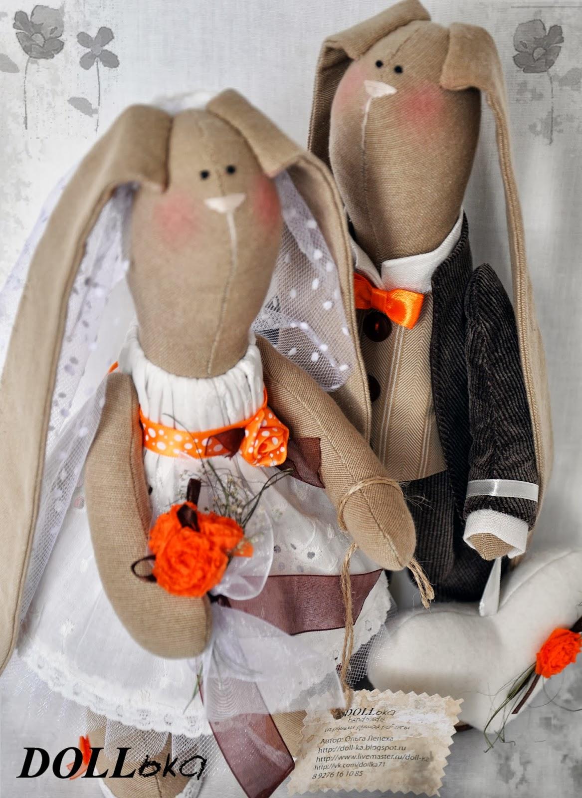 Тильда зайцы свадебные ручной работы