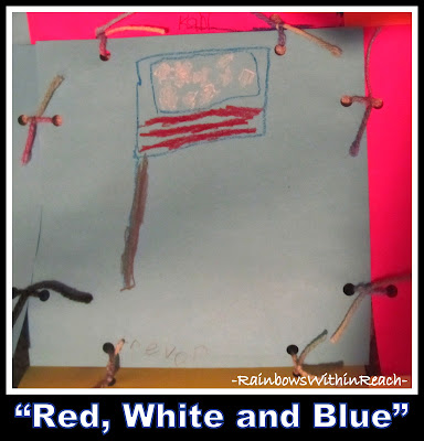 "photo of: ""Red, White and Blue"" Flag Drawing from Kinder-fan via RainbowsWithinReach"