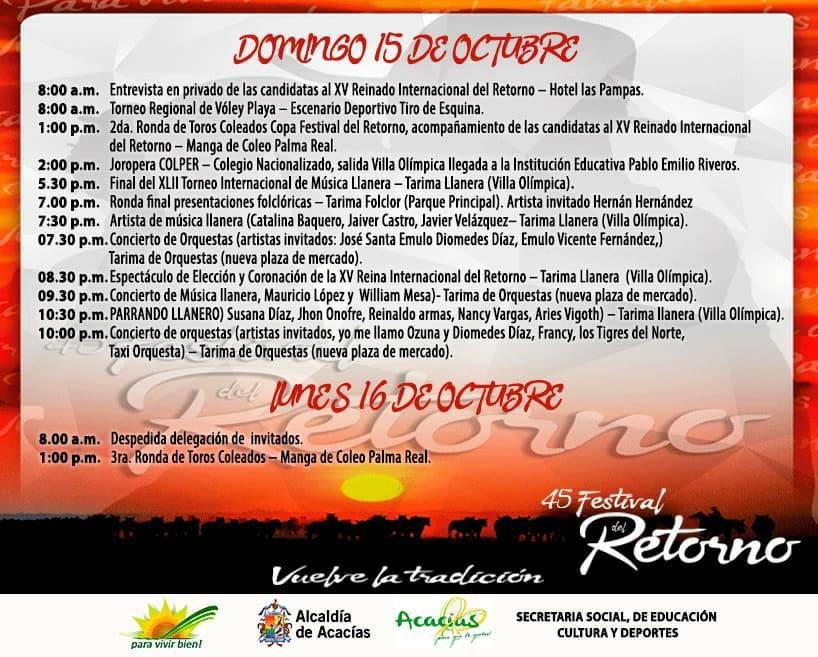 PROGRAMAMCION OFICIAL FESTIVAL DEL RETORNO
