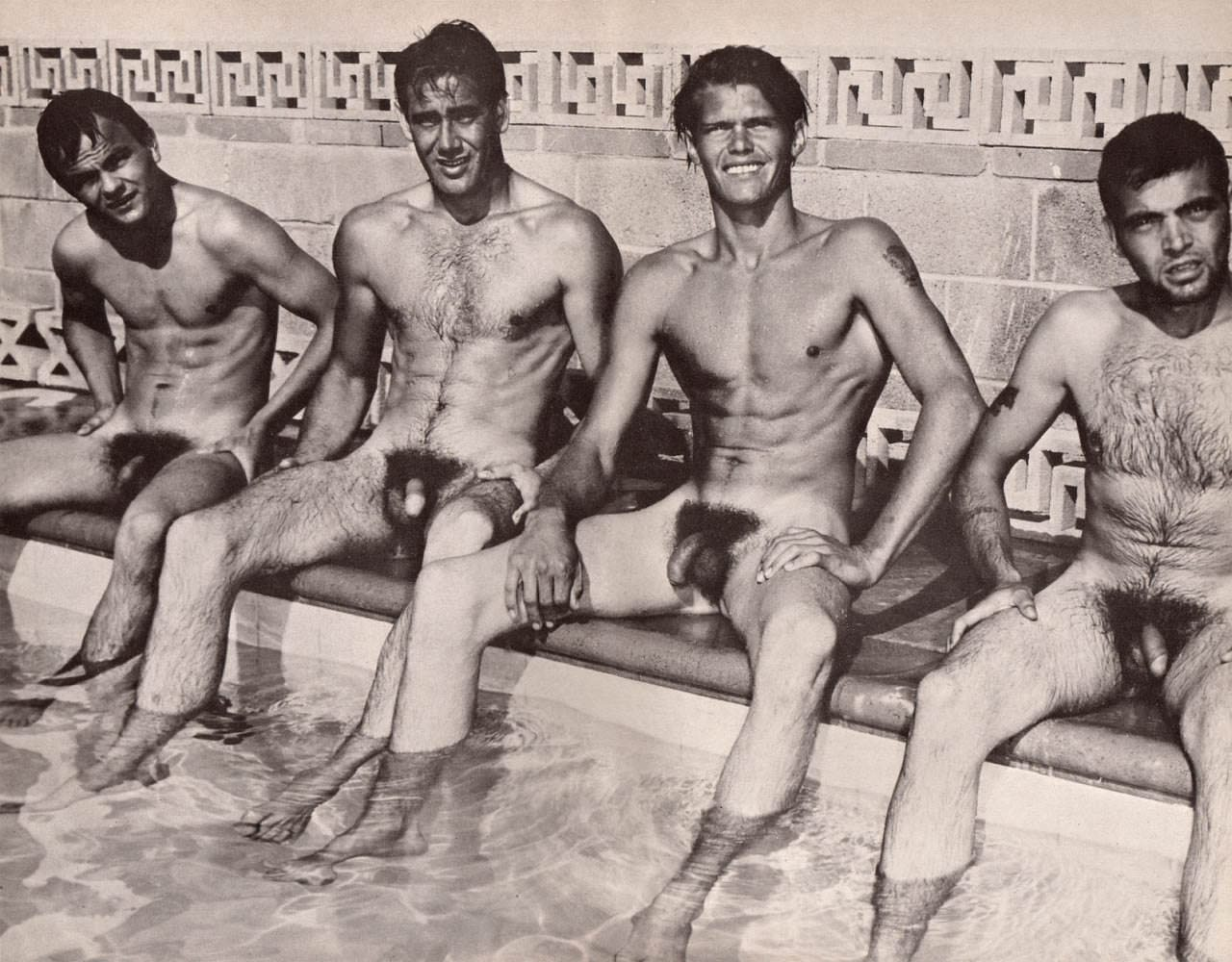 vintage naked guys swimming with girls
