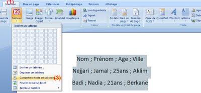 Convertir un texte en tableau Word 2007-2010