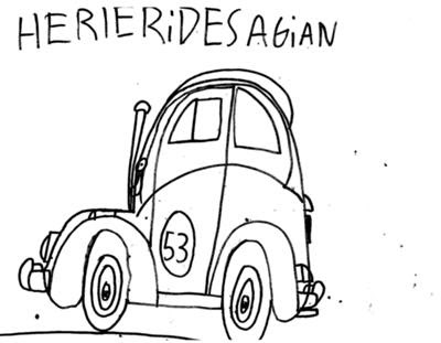 Cartoon Design Herbie Movie Car Coloring Pages