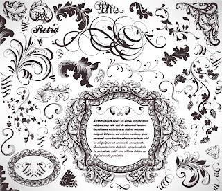 植物柄のヴィンテージ フレーム・ボーダー Vintage floral frames and elements イラスト素材4