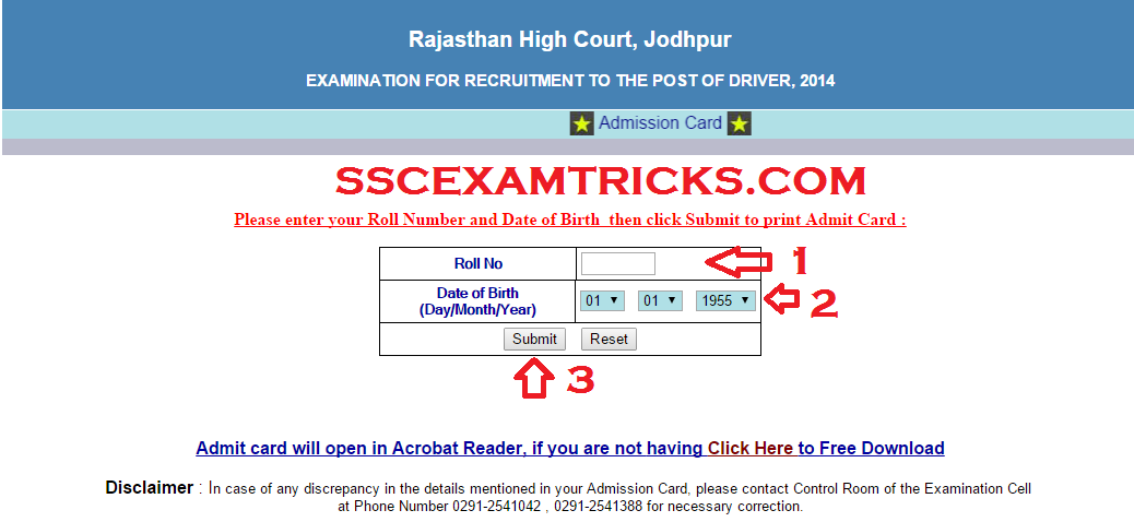 Rajasthan Driver Exam 2015 Admit cards