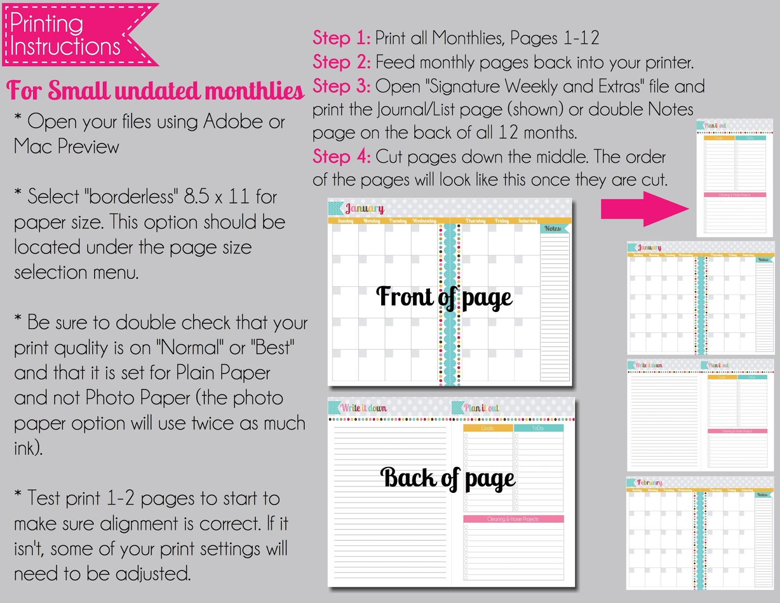 the polka dot posie how to print u0026 assemble our small planner pages
