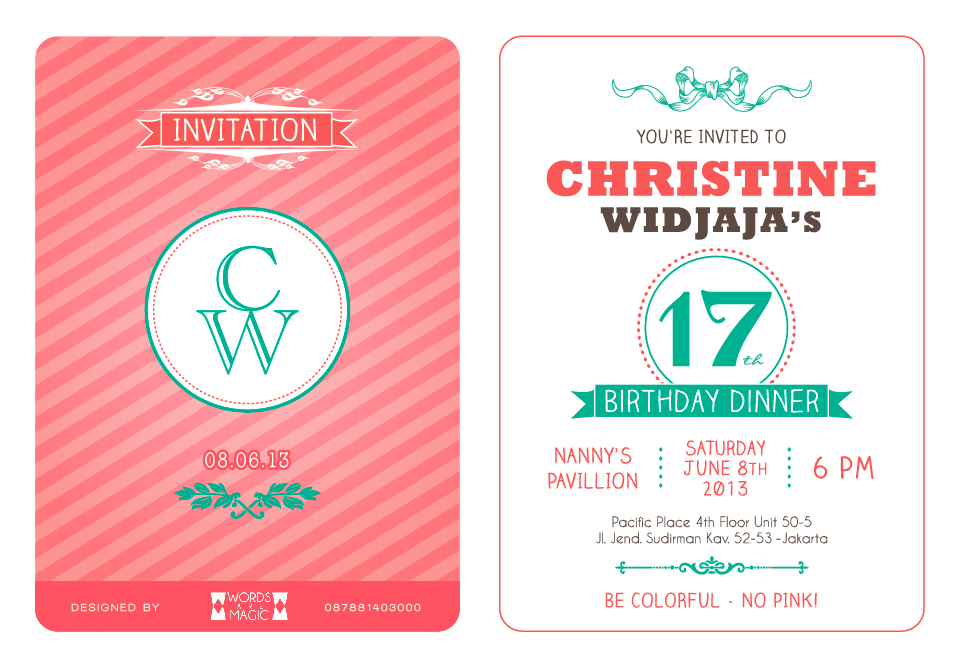 Anne clarissa design photography christine widjajas birthday christine widjajas birthday invitation stopboris Image collections