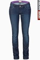 Jeans Patrol skinny, albastri-inchis, cu aspect sifonat