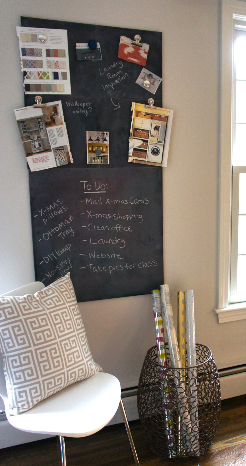 the top half of the chalkboard is magnetic and i can use it to post magazine pictures and notes and the bottom half i can use for my todo list