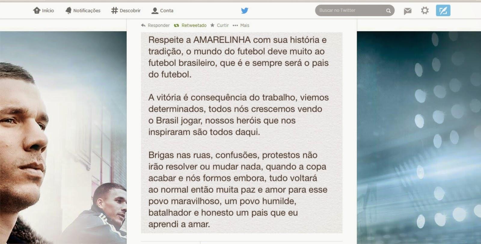 Jogadores alemães mandam mensagens de consolo para o Brasil após 7 a 1 ~  PEmais é Mais Pernambuco! 8d663b425ed60