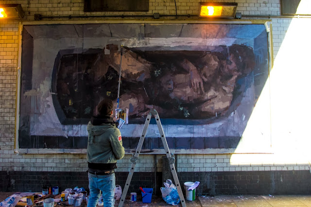 """Adam & Eva"" New Street Art Pieces By Spanish Artist Borondo On Old Street, East London. 8"