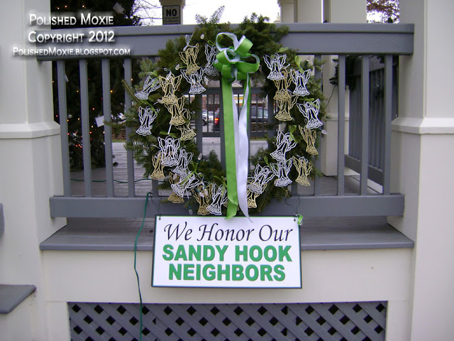 Image of wreath with 26 angels for Sandy Hook neighbors.