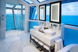 Celebrity Cruises' New Celebrity Reflection Suite Features Exterior All Glass Shower.