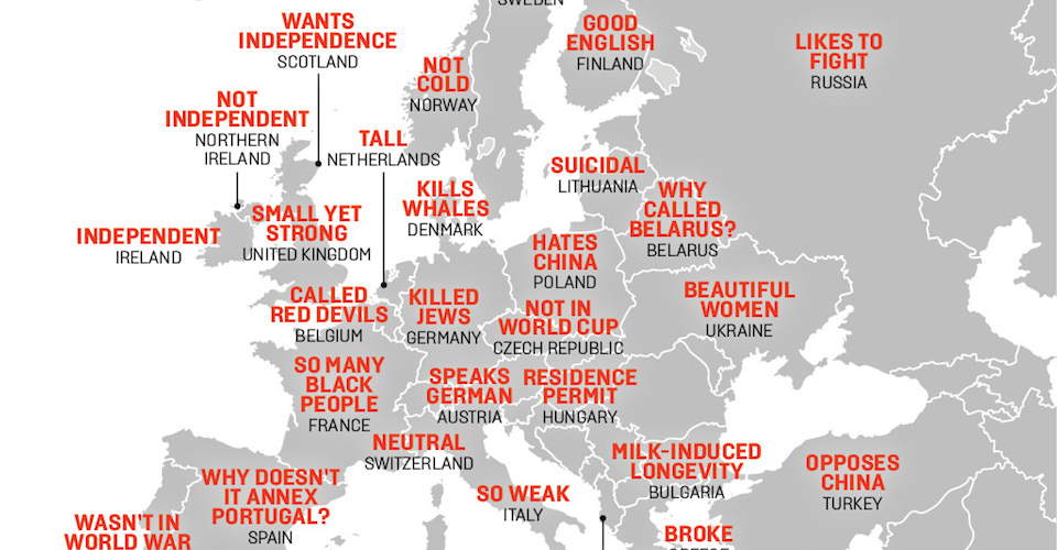 This map shows China's hilarious stereotypes of Europe