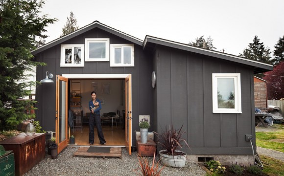 tiny 250 sq ft home constructed from a garage