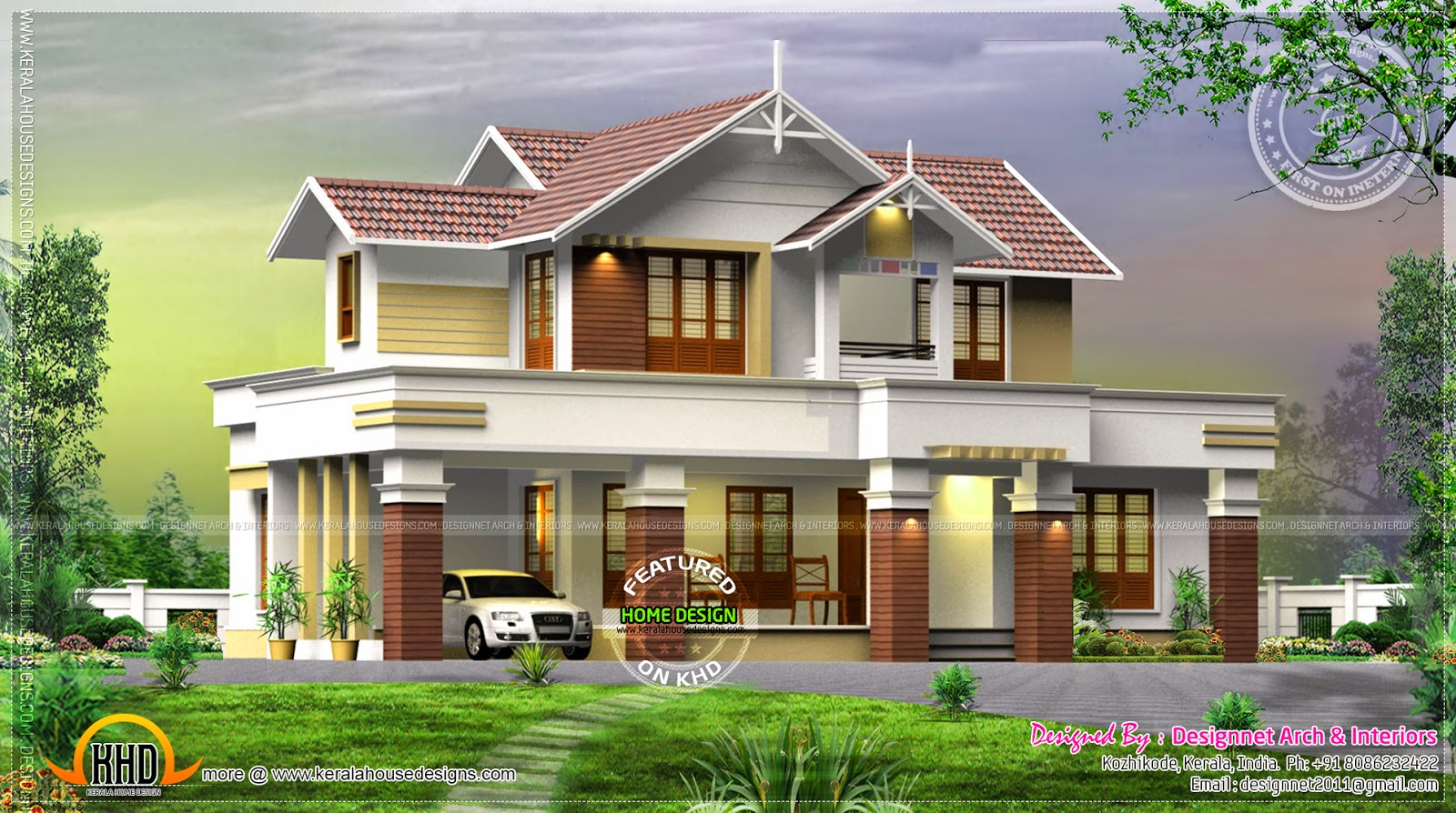 Beautiful villa exterior in 2370 square feet kerala home for Beautiful villa design