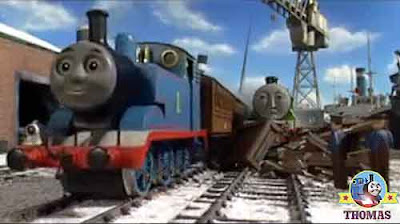 Henry Thomas the train whistled train Thomas Annie and Clarabel chuffed out of Brendam ship docks