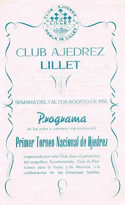 Programa del I Torneo Nacional de Ajedrez de La Pobla de Lillet 1955