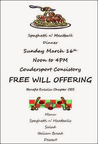 3-16 Spaghetti Dinner Coudersport