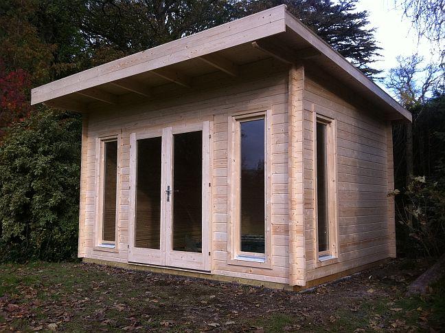 Cheltenham log cabin installed in dollar central scotland for Garden offices for sale scotland