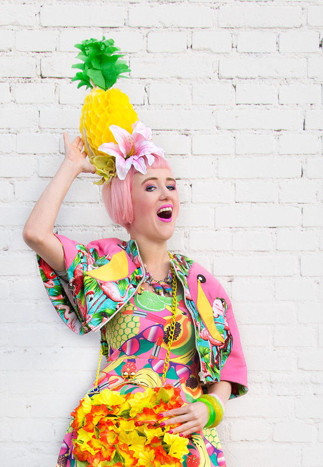 flamingo cape, pineapple fascinator, carmen miranda