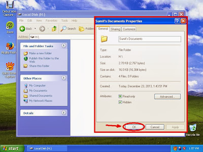 Learn how to hide files and folders in windowsXP step14
