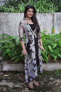 Actress Siya Gautham Picture Gallery in Long Dress at Pilavani Perantam Telugu Movie Opening  2.jpg
