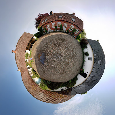 Panoramic view of farm, 360 photography