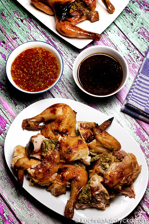Gai Yang - pieczone faszerowane kurczaki © KuchniaAzjatycka.com