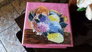 Cesta com hortênsias- pintura em Mdf