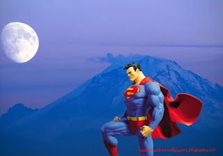 Superman Wallpaper of Superman Statue in Moon in Blue Moutain wallpaper