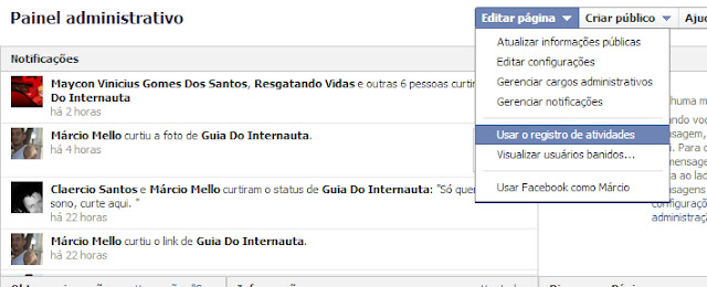 Painel administrativo - Facebook