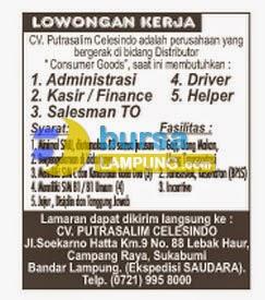 Lowongan Kerja CV. Putrasalim Celesindo lampung, 29 Juni 2014