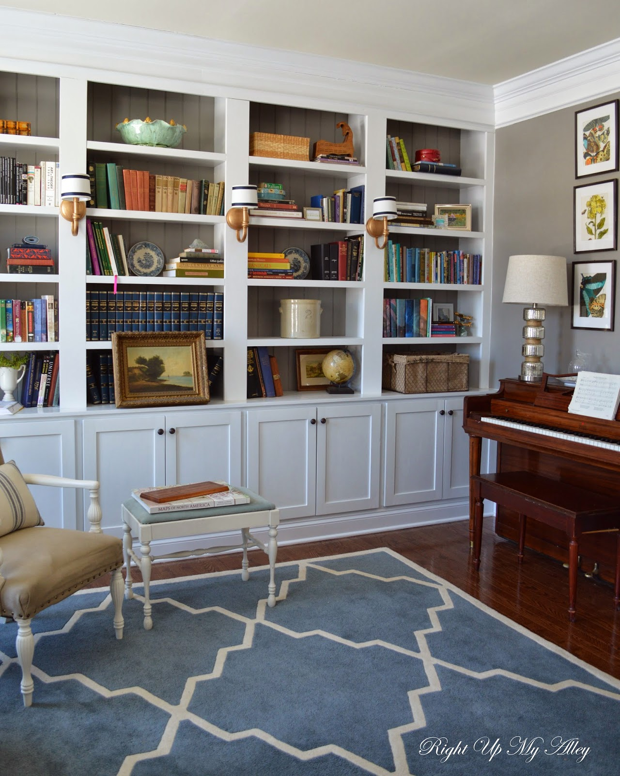 Right Up My Alley How We Built Our Library Bookshelves - Diy built in bookshelves