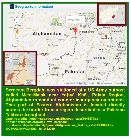 An Afghanistan Map showing Bergdahl's location when captured