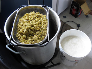 Strained out hops post-boil.
