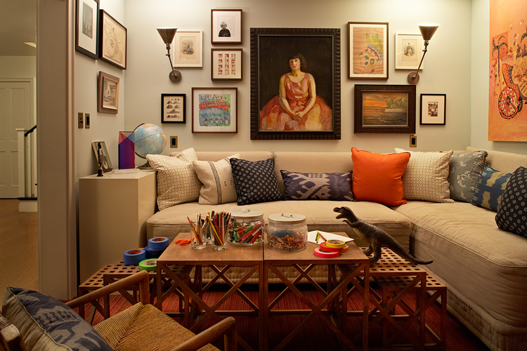 loft & cottage: lights and art over the sofa