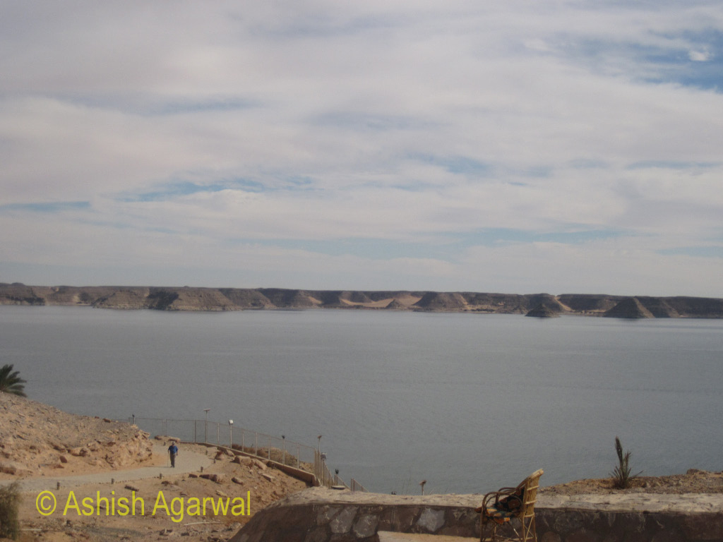 View of Lake Nasser from near the parking area at the Abu Simbel temple