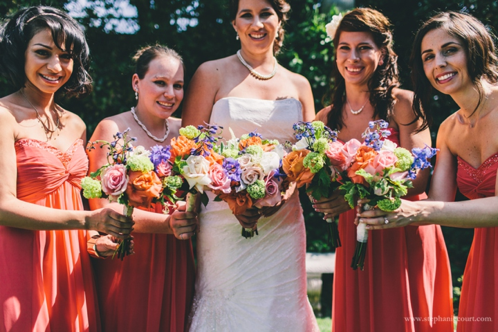 coral-strapless-bridesmaids-dresses