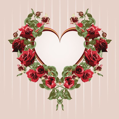 Rosas rojas y corazón para el Día de San Valentín o Valentines Day