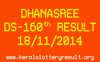 DHANASREE Lottery DS-160 Result 18-11-2014