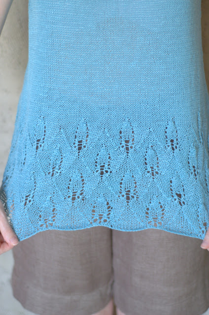 Ignatia Knits and her hand knitted Azalea tank by Pam Allen (lace detail)