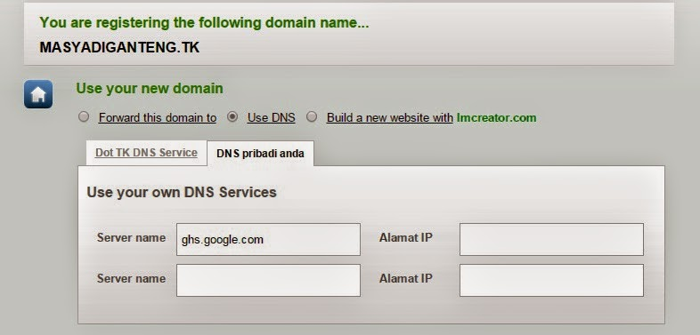 Cara Baru Custom Domain Blogger dan Setting DNS Dot TK 2014
